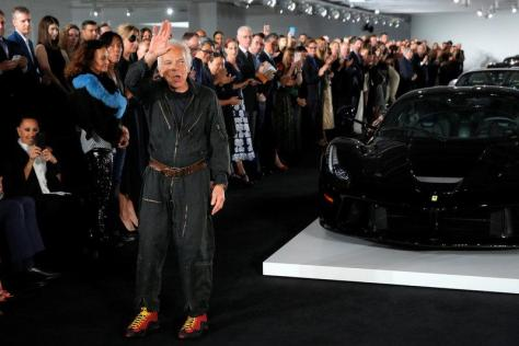 Designer Ralph Lauren acknowledges attendees after presenting his Spring/Summer 2018 collection in a show that was presented in Lauren's private garage for New York Fashion Week in Manhattan, New York.